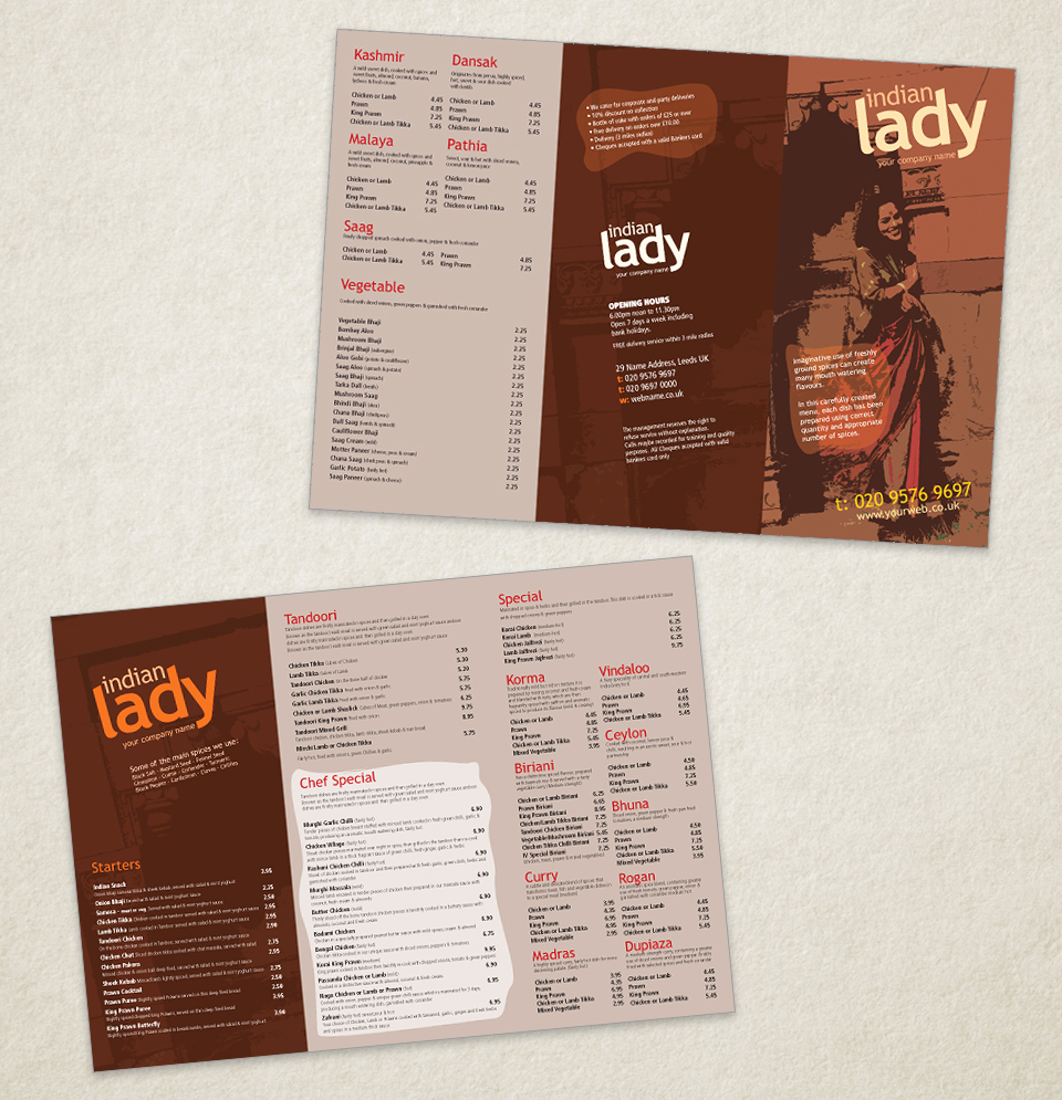 Indian restaurant menu template designs traditional