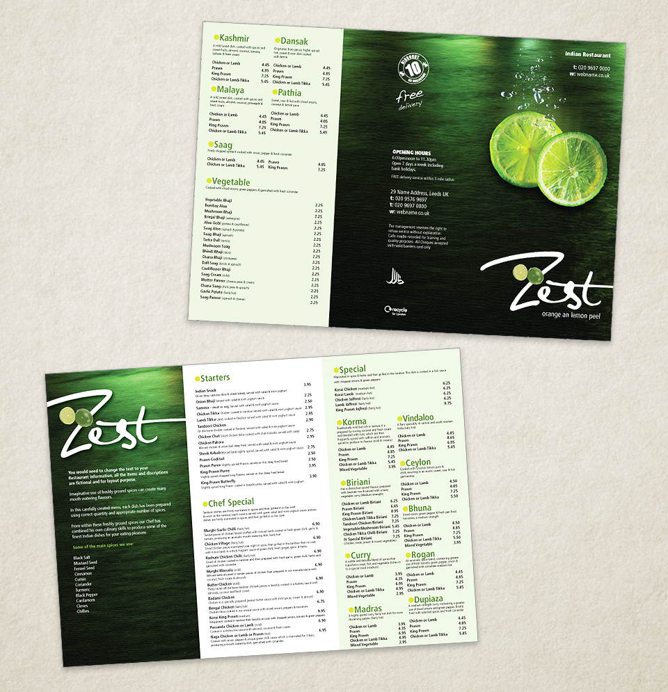 Indian Restaurant Menu Template Designs Indian Restaurant Menu